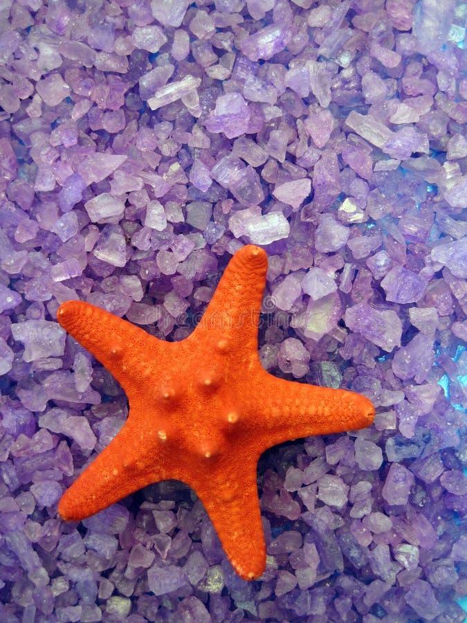 Red starfish on bath salt royalty free stock images
