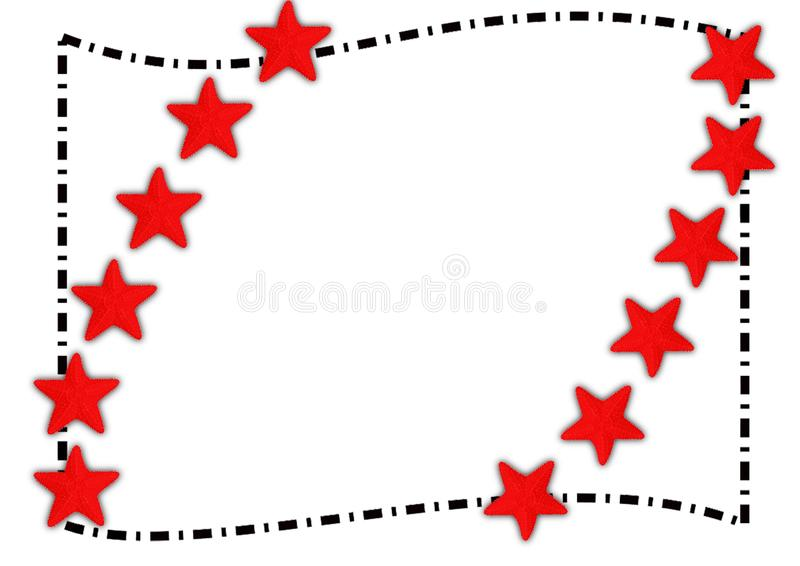 Red starfish border summer frame. Red starfish frame for summer. Make your text more special with this cute sea frame borders stock photo
