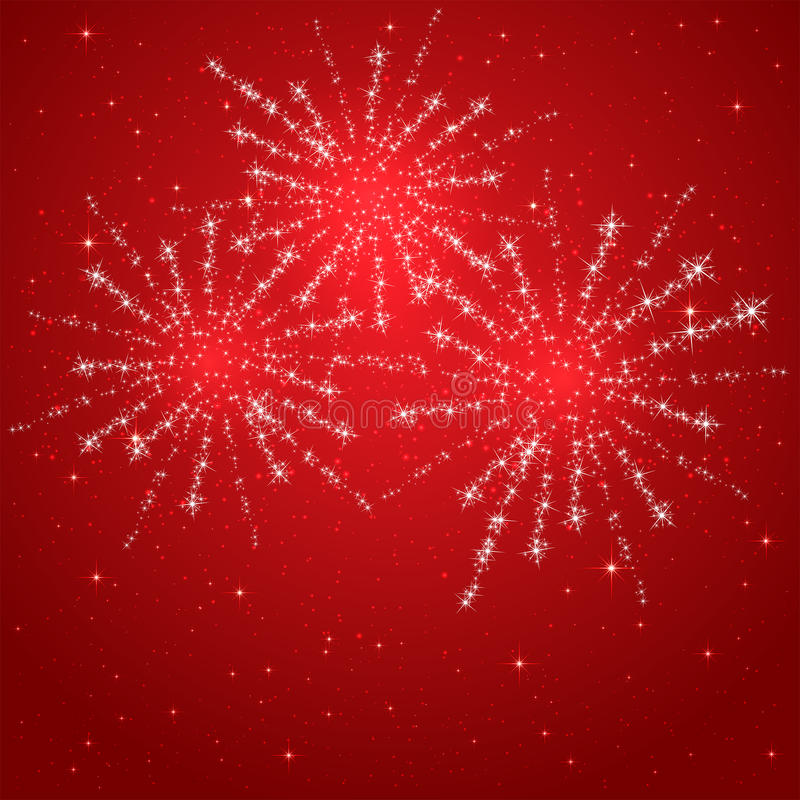 Red starry fireworks. Red starry background with shiny fireworks, illustration royalty free illustration