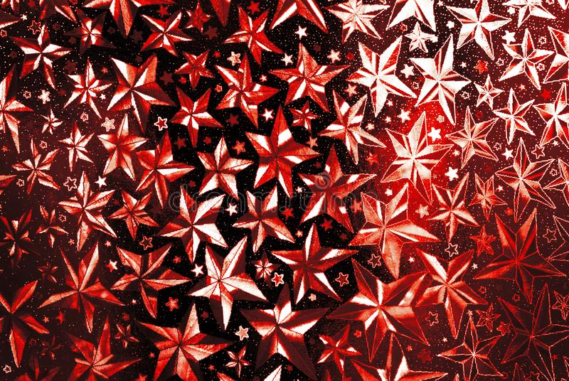 Red  stars abstract halographic background stock image