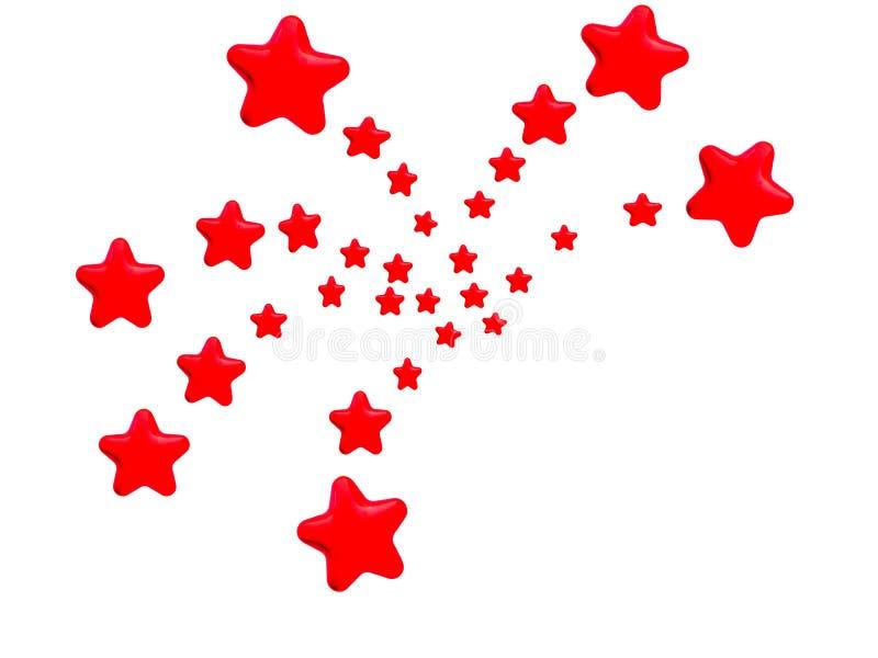 Red Stars Fireworks Pattern. Red stars, in the pattern of bursting fireworks, on white background vector illustration