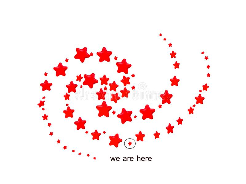 Red Stars in spiral pattern. Mimic of milkyway galaxy with location of our sun in the Orion arm, on white background royalty free illustration