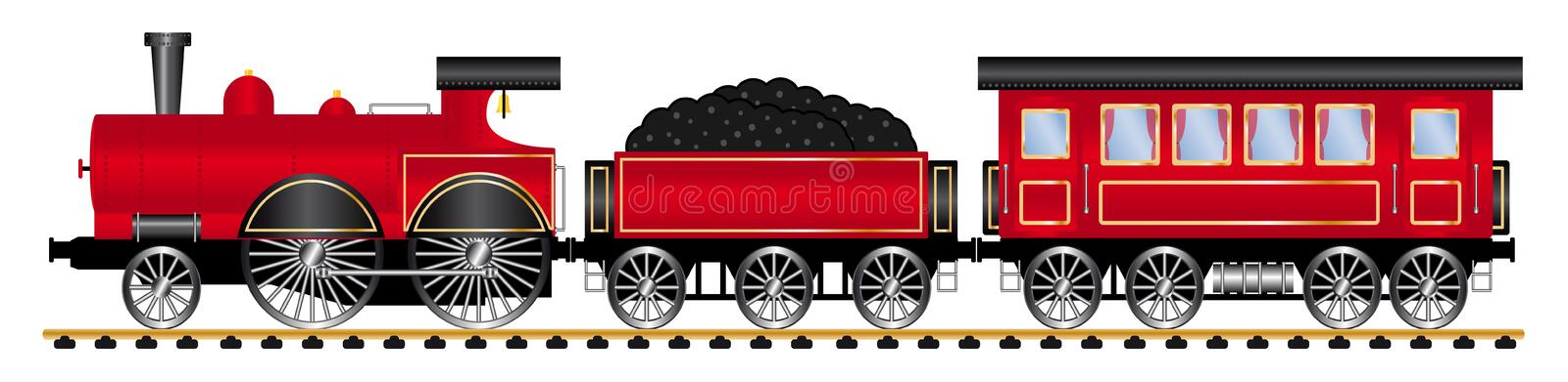 Red steam locomotive with personal wagons stock illustration