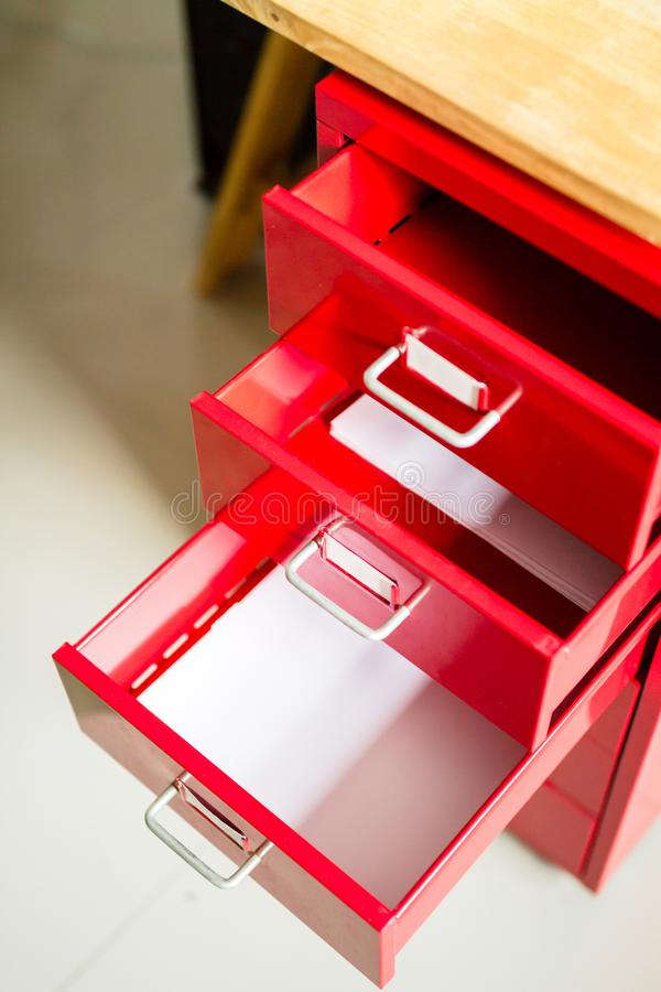 Red steel drawer for documents. stock photos