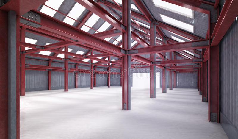 Red steel framework building indoor perspective view royalty free illustration