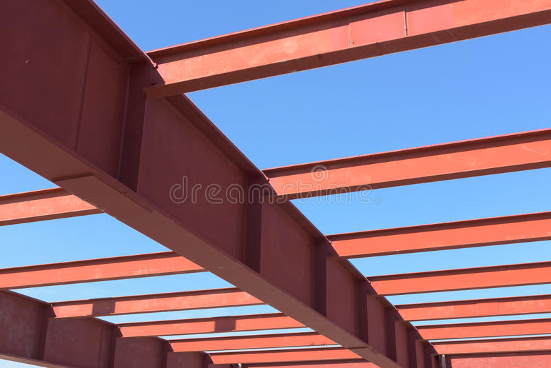Red of steel girder. Red of steel girder, Steel structure erection stock images