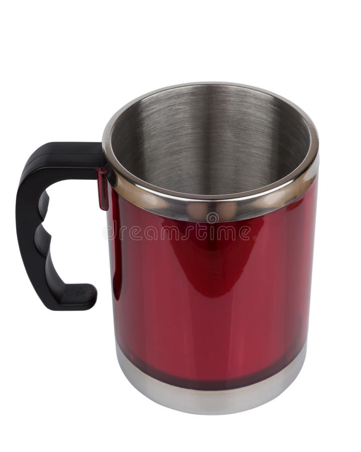 Red steel thermo mug with black plastic handle. Isolated on white background royalty free stock photo