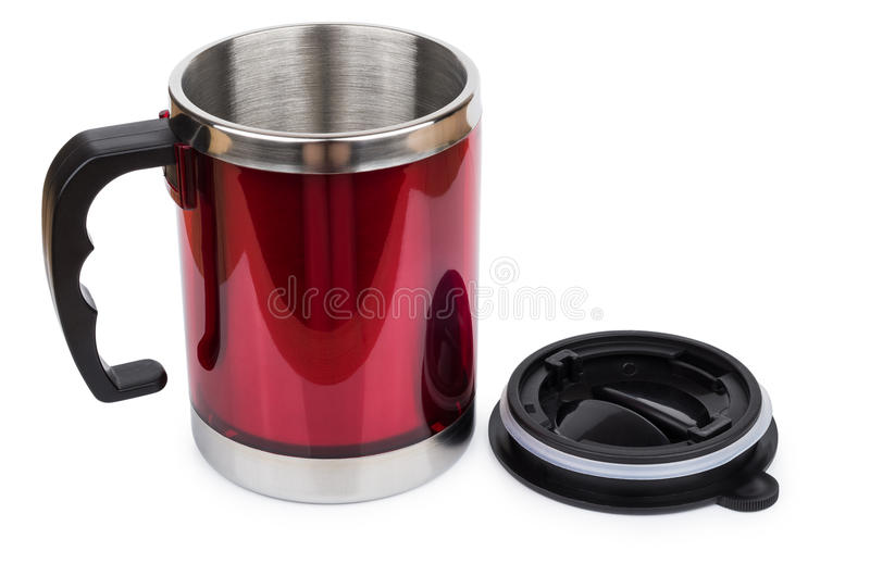 Red steel thermo mug and black plastic lid. Isolated on white background stock photography