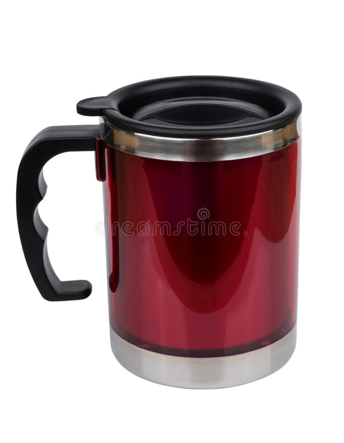 Red steel thermo mug with lid stock photos