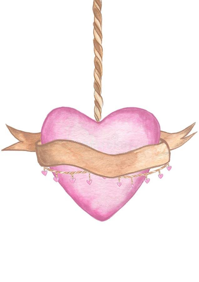 red steg Delikat förälskelse Hängde utdragen vattenfärg för handen rosa hjärta med ett kopieringsutrymme på bandet royaltyfri illustrationer
