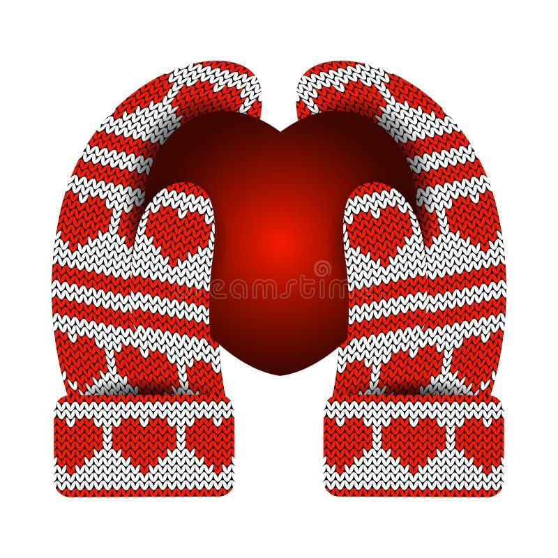 red steg stack mittens Modell av hjärtor och band röd white Hänga på en rad med en pilbåge stock illustrationer