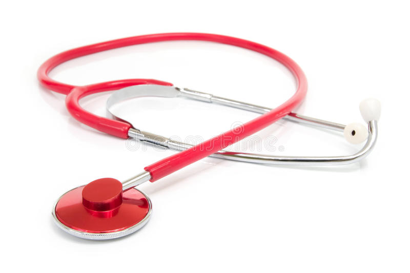 Red stethoscope. Isolated on white background royalty free stock images