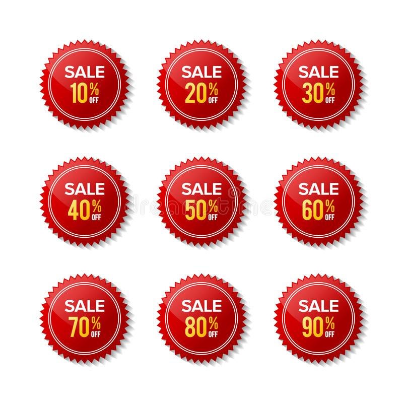 Red sticker discount sale off vector stock photo