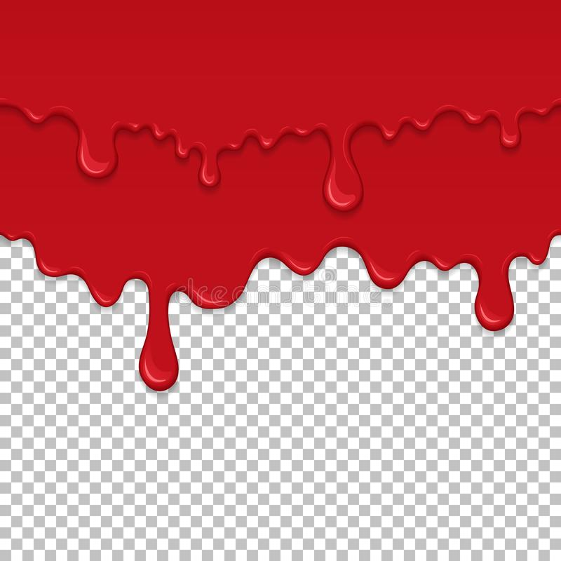 Red sticky liquid seamless element. Realistic dripping slime isolated object. Bloody background with oozing slime. Popular kids sensory game. Paint drips and vector illustration