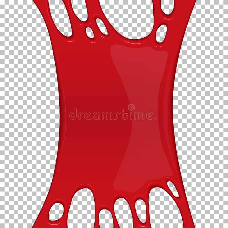 Red sticky slime banner with copy space. Frame of scary bloody slime. Popular kids sensory toy vector illustration. Realistic oozing slime object. Halloween stock illustration