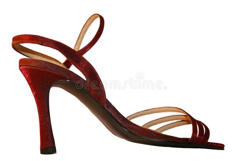 Red stiletto. A sexy, red,sparkly, stiletto shoe royalty free stock photo