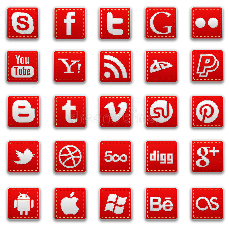 Free Red Stitched Social Media Icons Royalty Free Stock Image - 35247276