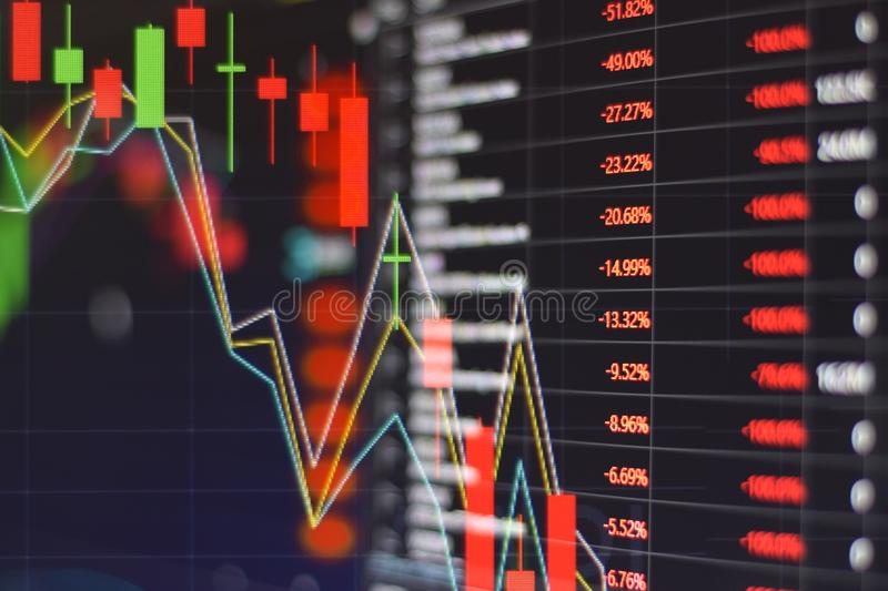 Red stock market graph be in the red on monitor chart investment be in the red trading stock exchange trading market. Screen at night time royalty free stock image