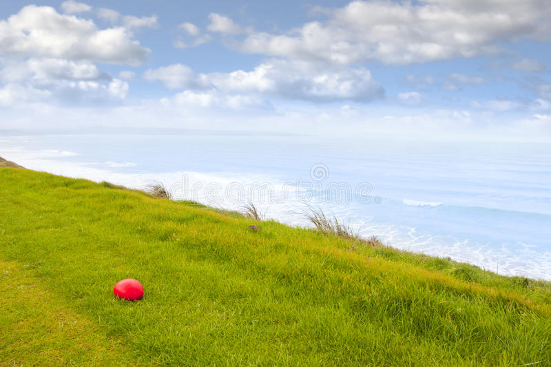 Red stone on the Ballybunion links golf course stock photo
