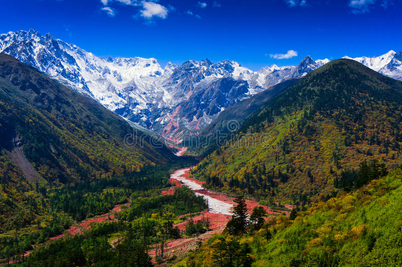 Hailuogou red stone beach. The red stone beach of Mount Gongga in Hailuogou (Conch Gully) National Glacier Forest Park in China. Mount Gongga is high 7556m, is stock image