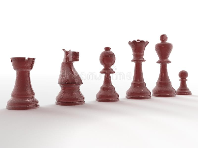Red stone chess set. An illustration of a red stone set carved from stone royalty free stock images