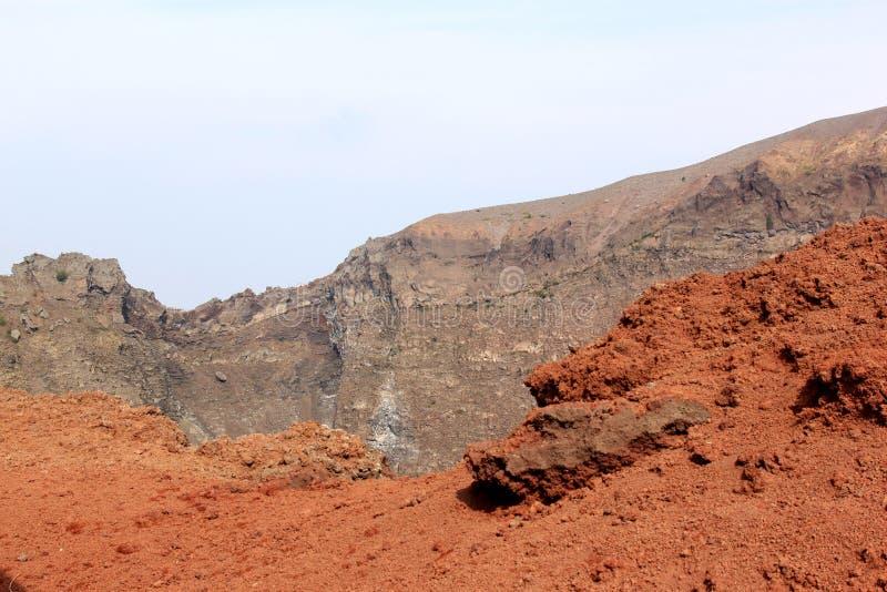 Red stone of mount Vesuvius, Naples, Italy stock image
