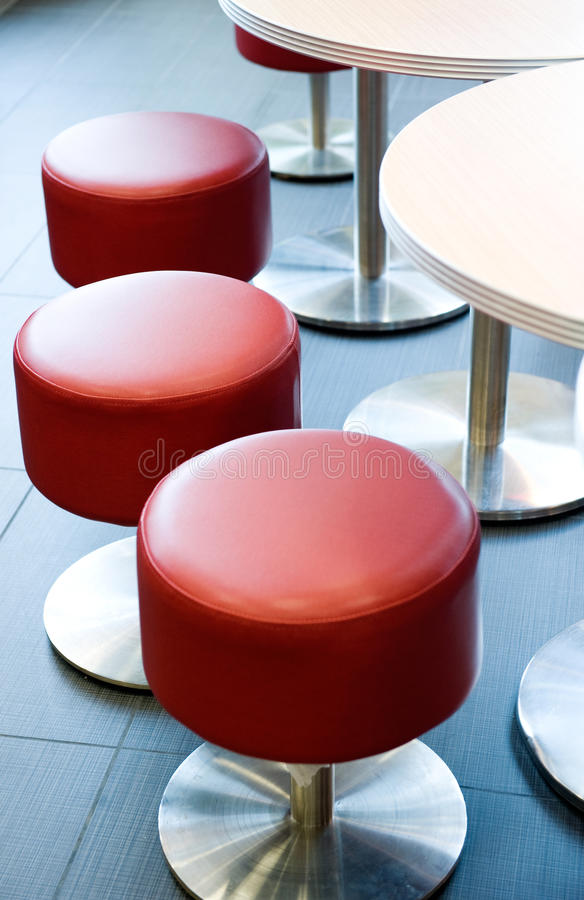 Red stools stock images