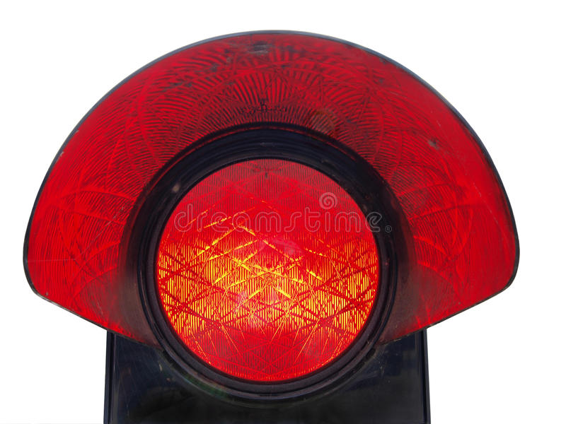 Red stop light. Old railway stop indicator light with light reflected in the shade royalty free stock photography
