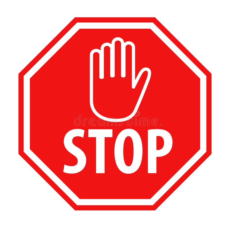 Red stop sign with hand symbol icon vector illustration stock illustration