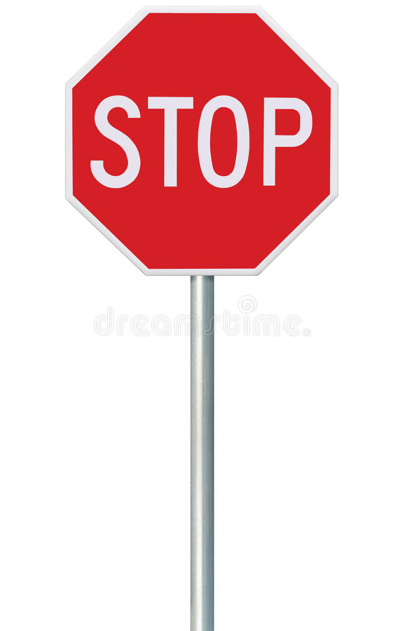 Red Stop Sign, Isolated Traffic Regulatory Warning Signage Octagon, White Octagonal Frame, Metallic Post, Large Detailed Vertical. Closeup royalty free stock image