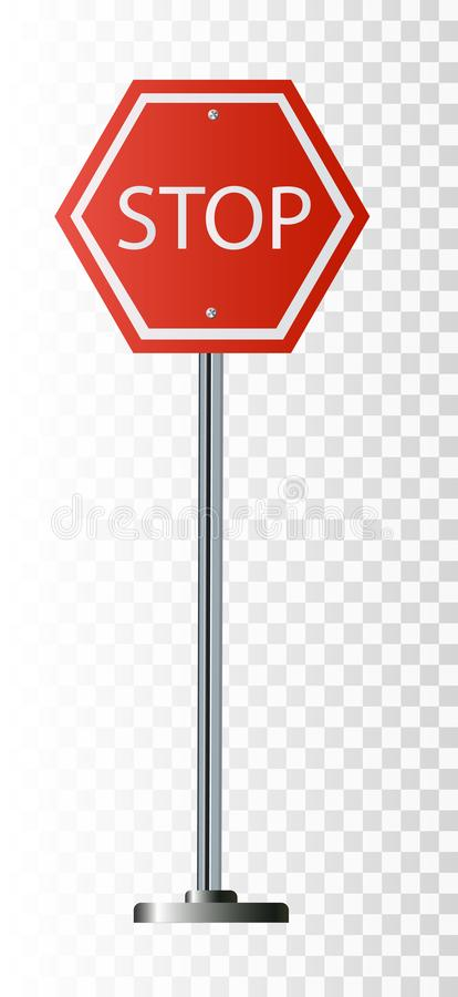 Red Stop Sign, Isolated Traffic Regulatory Warning Signage Octagon, White Octagonal Frame, stock illustration