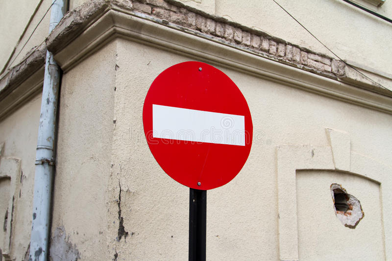 Red Stop Sign of Old Building royalty free stock images
