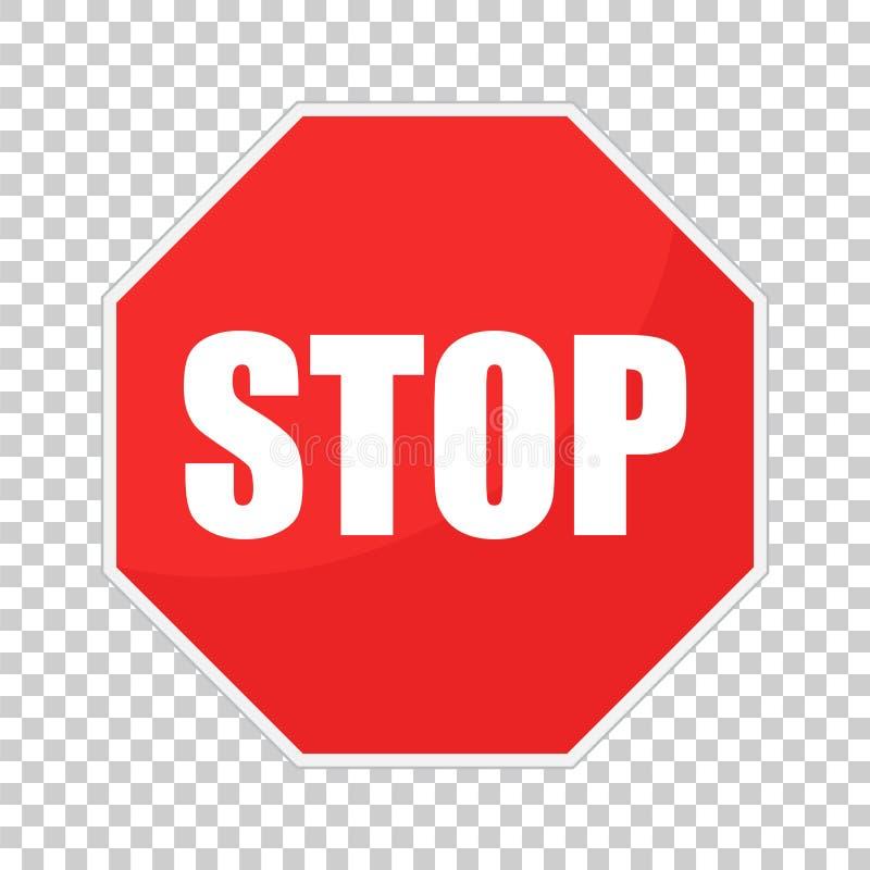 Red stop sign vector icon. Danger symbol vector illustration.  stock illustration
