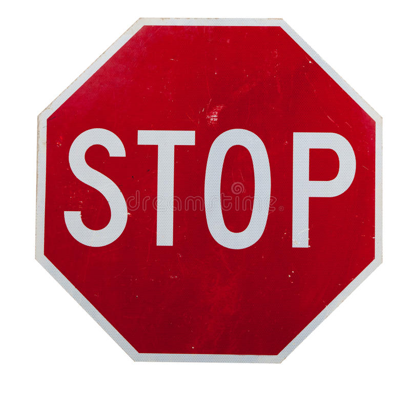 A red stop sign on white stock photos