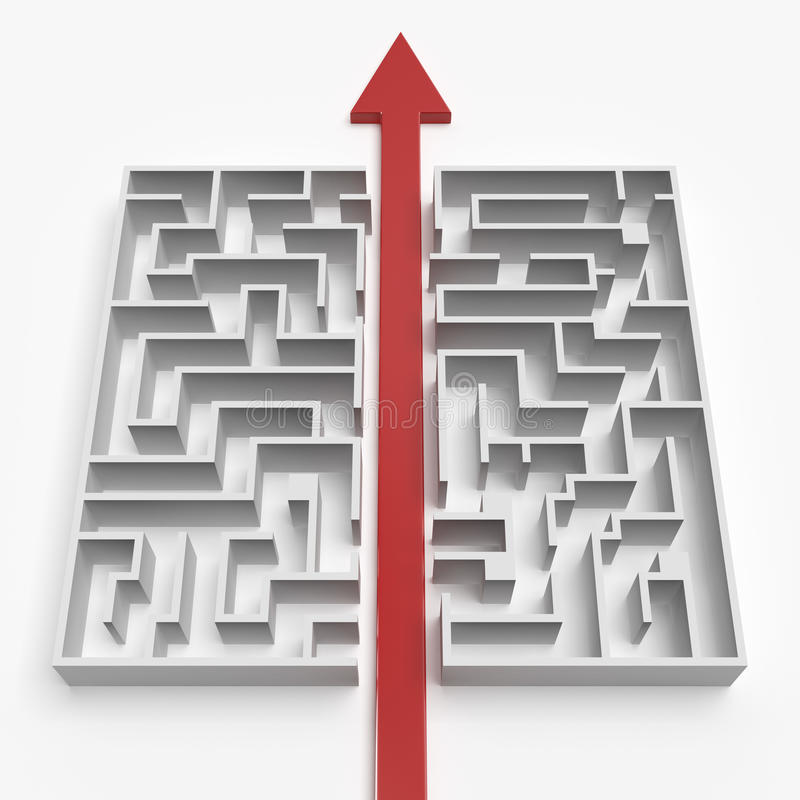 Red straight line through the maze royalty free illustration