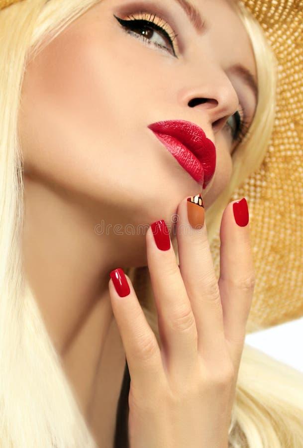 Red straw nail design. stock photo