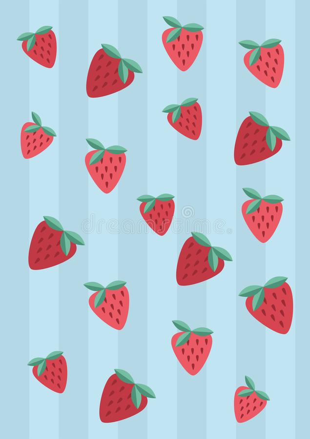 Red strawberry pattern on striped blue background. Fresh Red strawberry pattern on striped light blue background royalty free illustration