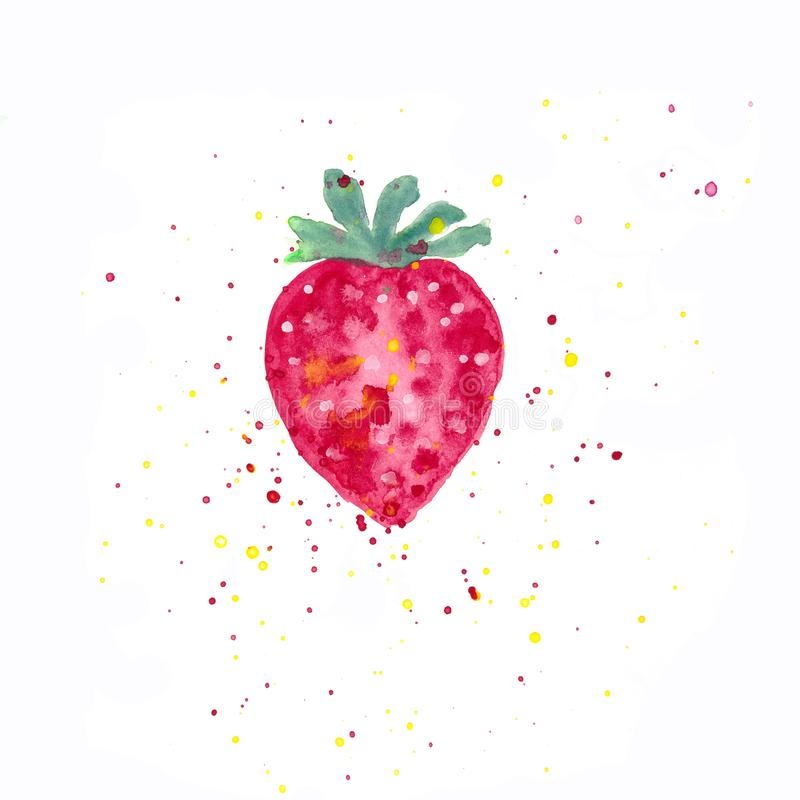 Red strawberry watercolor and red and yellow splashes royalty free illustration