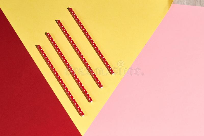 Red straws with polka dots, enviromentally friendly image stock photography