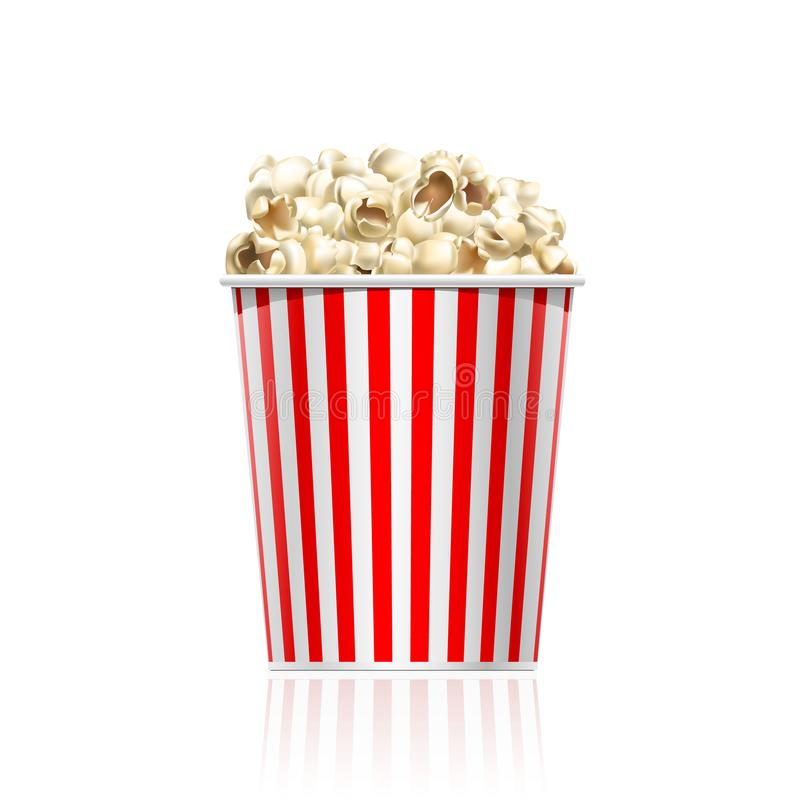Red striped popcorn bucket isolated on white background. vector illustration