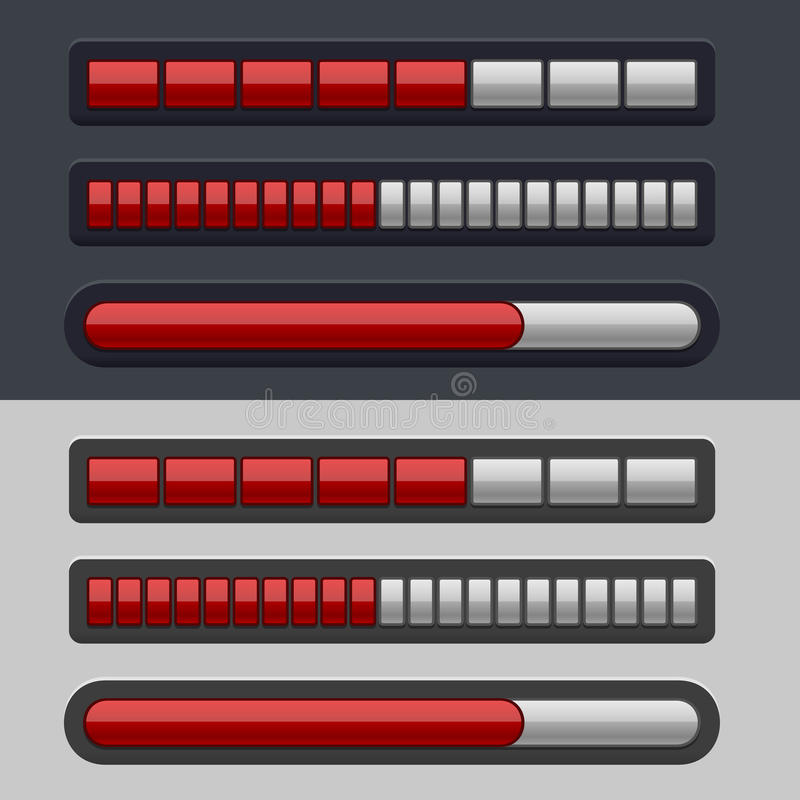 Red Striped Progress Bar Set vector illustration