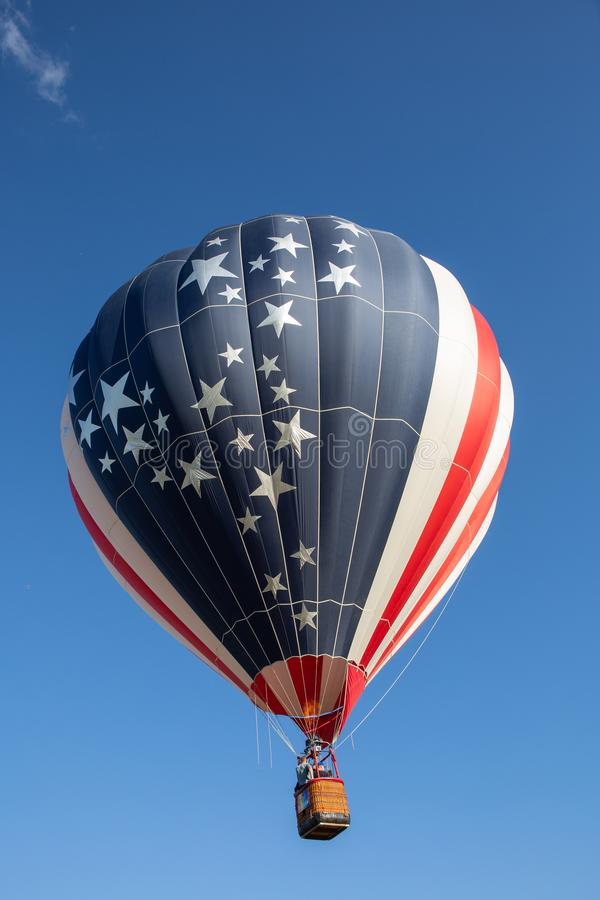 Red Stripes and Stars Hot Air Balloon. stock photography