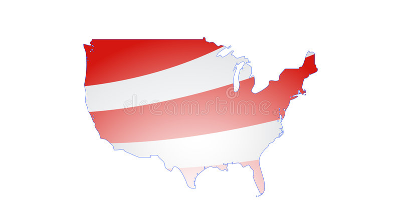 Red stripes USA Map vector. This illustration represents the Map of the Continental United States. Colors can be changed in additional format vector illustration