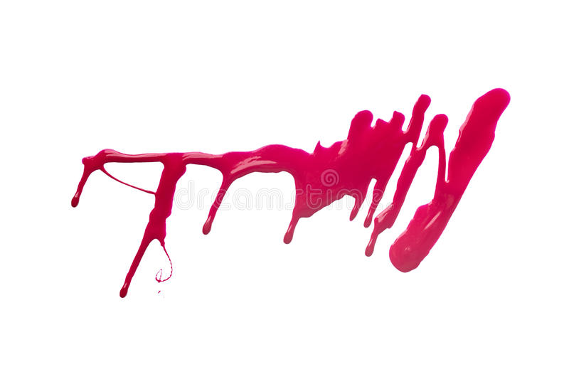 Red stroke of the paint brush isolated on white royalty free stock images
