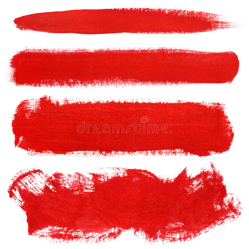 Red strokes of gouache paint brush royalty free stock image
