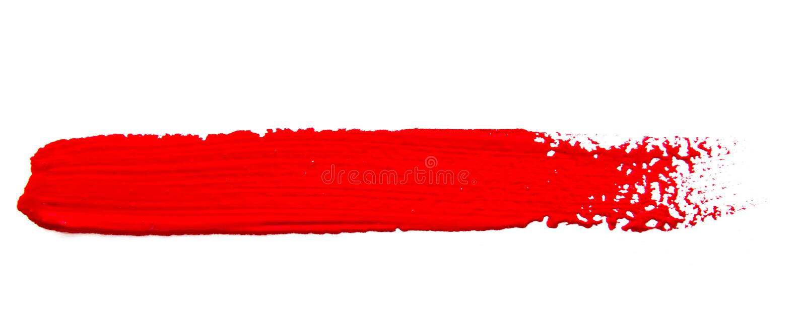 Red strokes of the paint brush isolated. On a white stock images