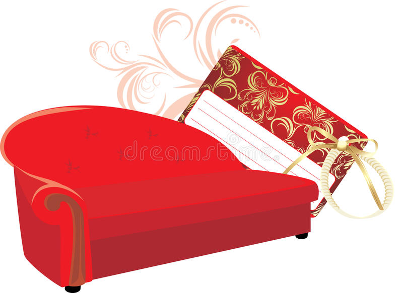 Download Red Stylish Sofa With Gift Card Stock Vector - Illustration: 17044596