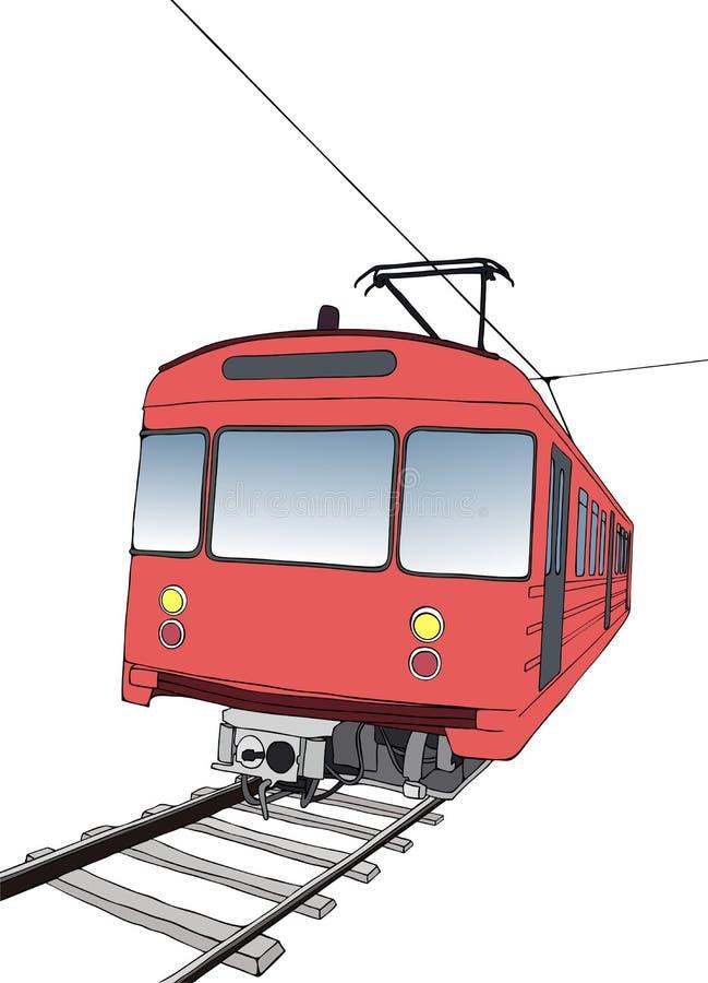 Red subway or metro train vector illustration