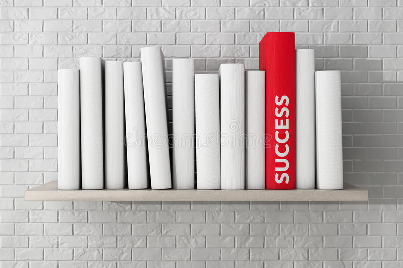 Red Success Book on a shelf with another blank books royalty free stock photography