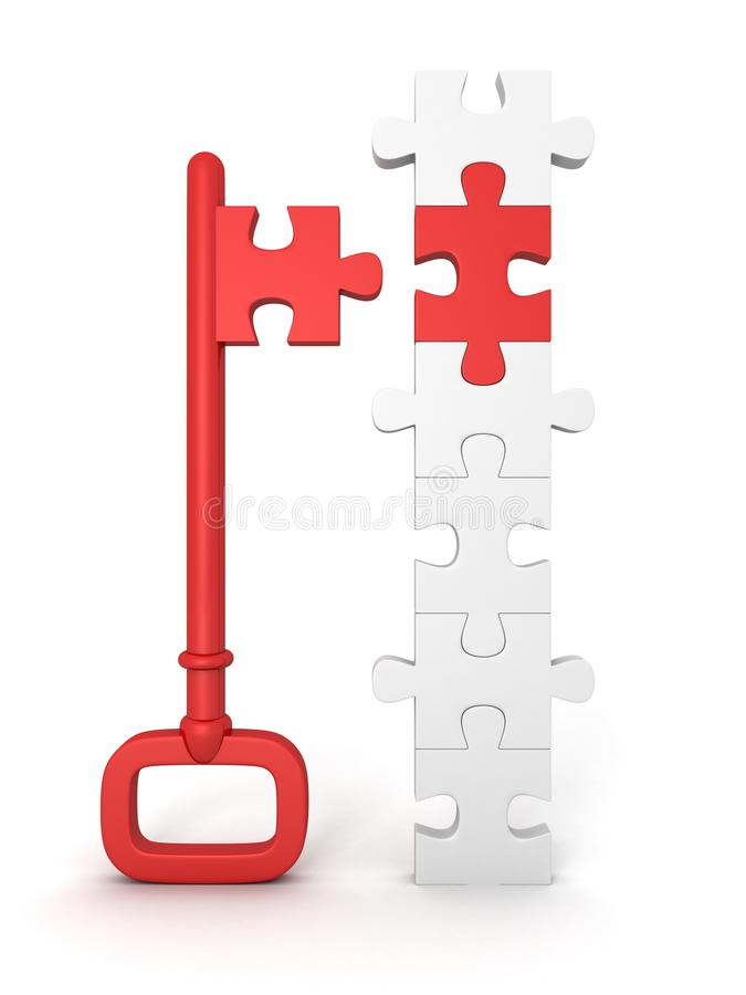 Red success key with jigsaw puzzle. 3d stock illustration